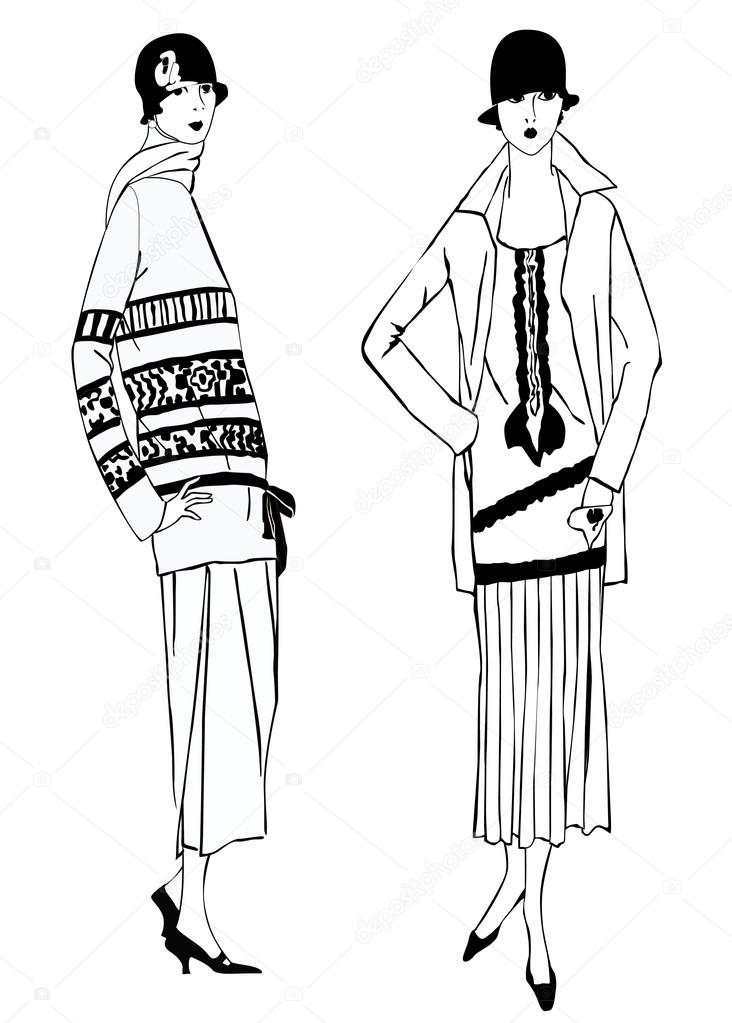 flapper girls 20 s style retro fashion party stock vector Fashion Drawing 1920 Flapper flapper girls 20 s style retro fashion party vector by yokodesign