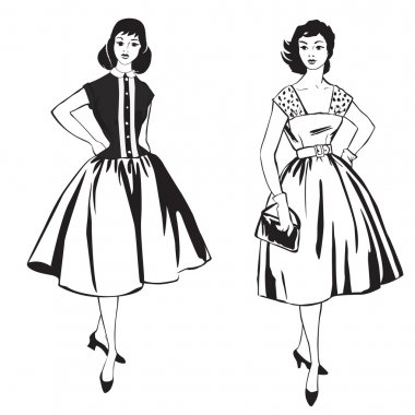 Two stylish dressed girls(1950s, 1960s style). Retro fashion party