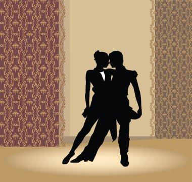 Dance pair in tango passion