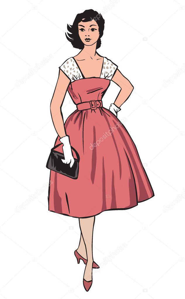 Stilvolle Mode Gekleidete Madchen 50er 60er Jahre Stil Retro Mode