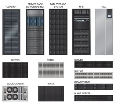 Data center icon set. Server room equipment.  Row of Network Server isolated