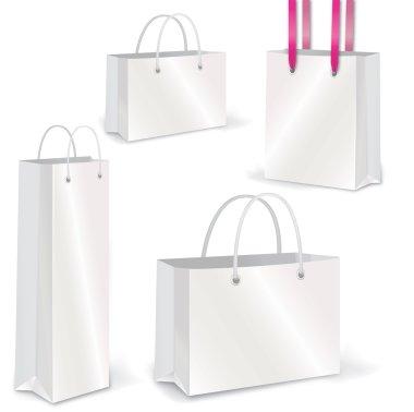 Empty Shopping Bag vector set on white for advertising and branding