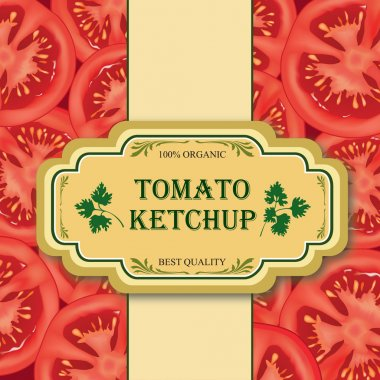 Tomato label. Sliced tomato background with copy space