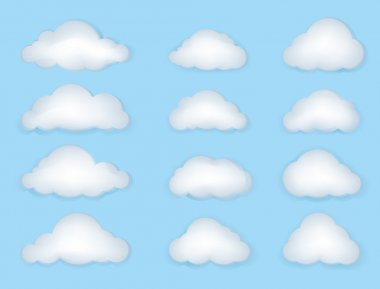 Vector illustration of white clouds on blue sky