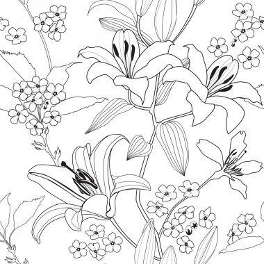 Monochrome seamless pattern with Lily flowers. Floral white and black seamless background.