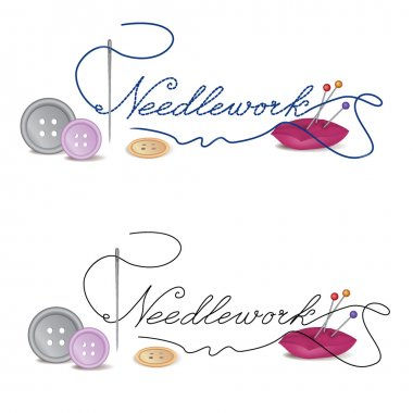 Header with needle and thread. Sewing needle and thread with buttons. Vector illustration of Sewing Accessories on white background