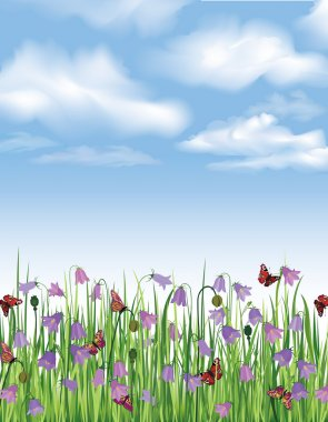 Flowers seamless border. Spring seamless background. Grass, bluebell, butterfly. Summer decor edge.