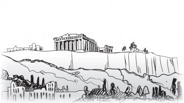 Acropolis Hill in Athens. Hand drawn landmark - ancient greece