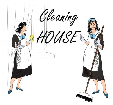 Cleaning service. Women, cleaning room. Vector illustration of a maids cleaning the room