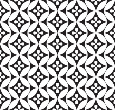 Abstract geometric seamless ornamental pattern. White and black background.