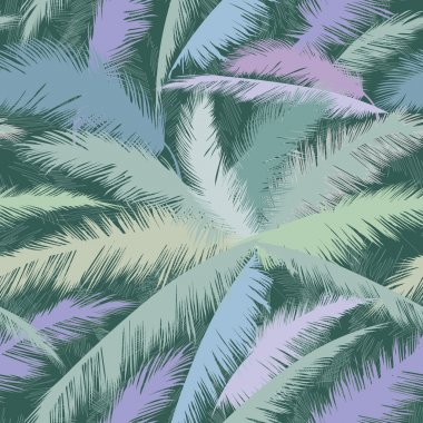 Decorative abstract floral seamless pattern. Palm leaves seamless background.