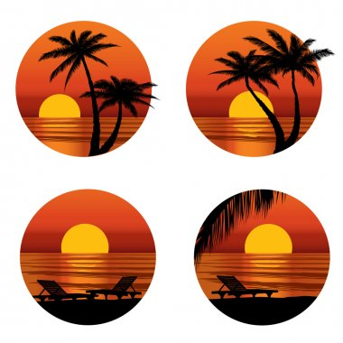 Sunset view at resort. Relaxing in the evening on beach with palm tree. Vector icons set.