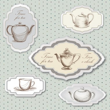 Tea cup and kettle retro card. Tea time vintage label. Tea cup and pot label set in vintage style.
