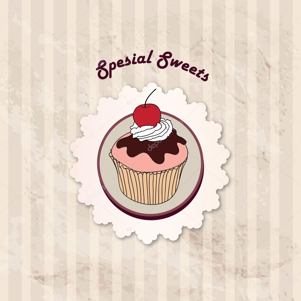 Gift card with pastry. Muffin on napkin in retro style over polka ...