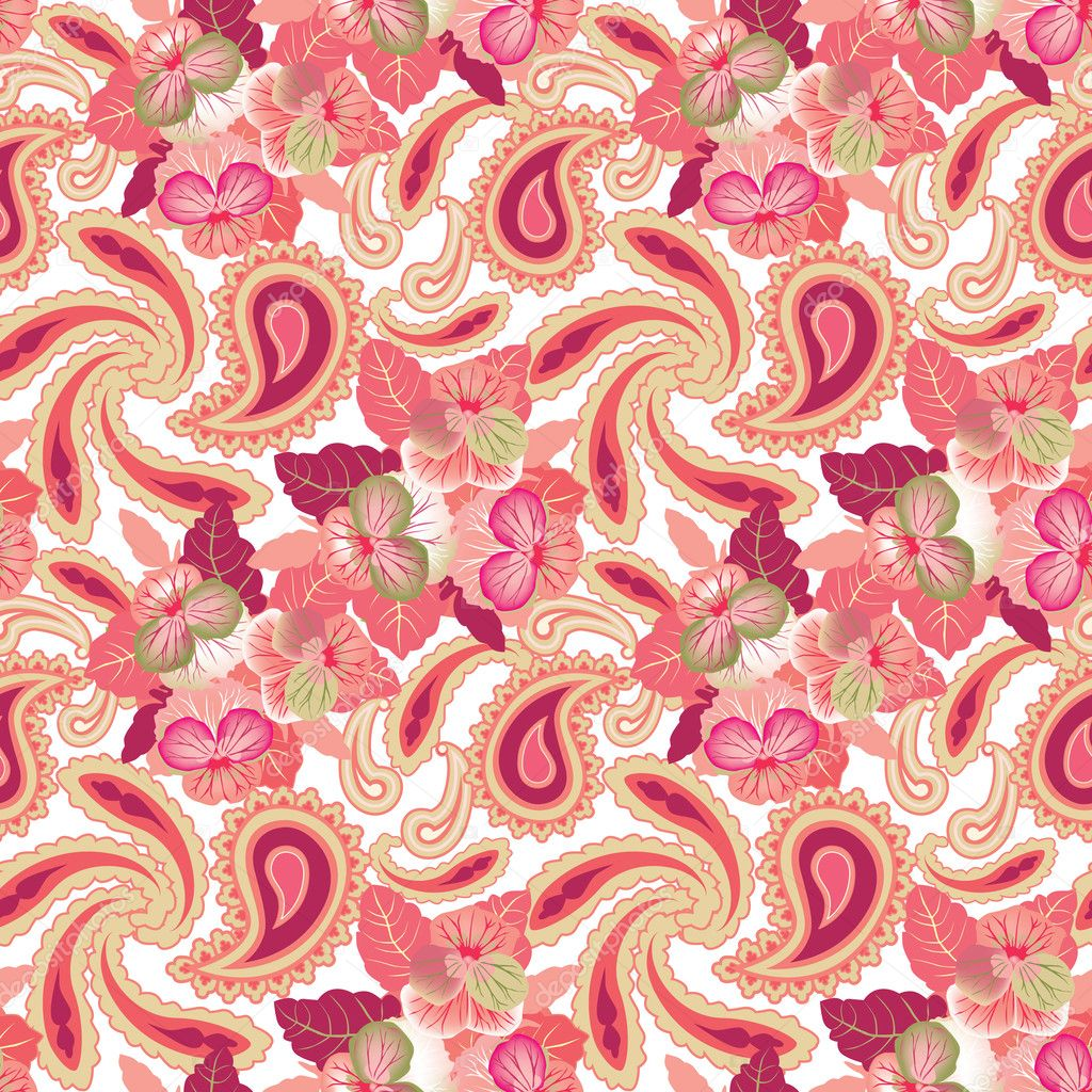 Abstract Floral Seamless Pattern Oriental Asian Lightning Ornament Pink Flower Background Stock Vector