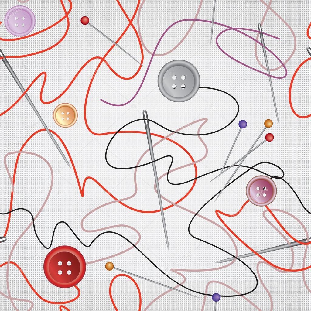 aguja e hilo de patrones sin fisuras. aguja de coser e hilo con ...