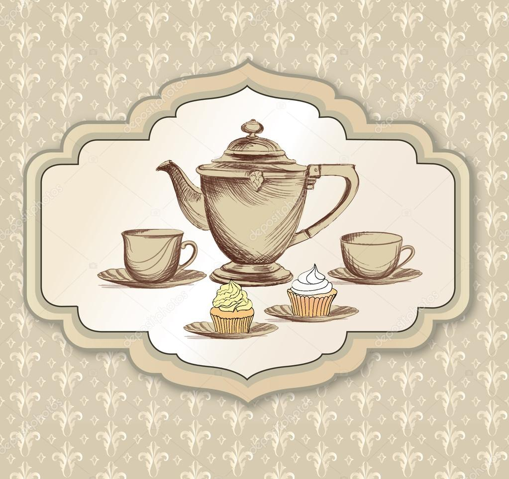 tea cup pastry and kettle retro card tea time vintage label stock vector yokodesign 27568813. Black Bedroom Furniture Sets. Home Design Ideas