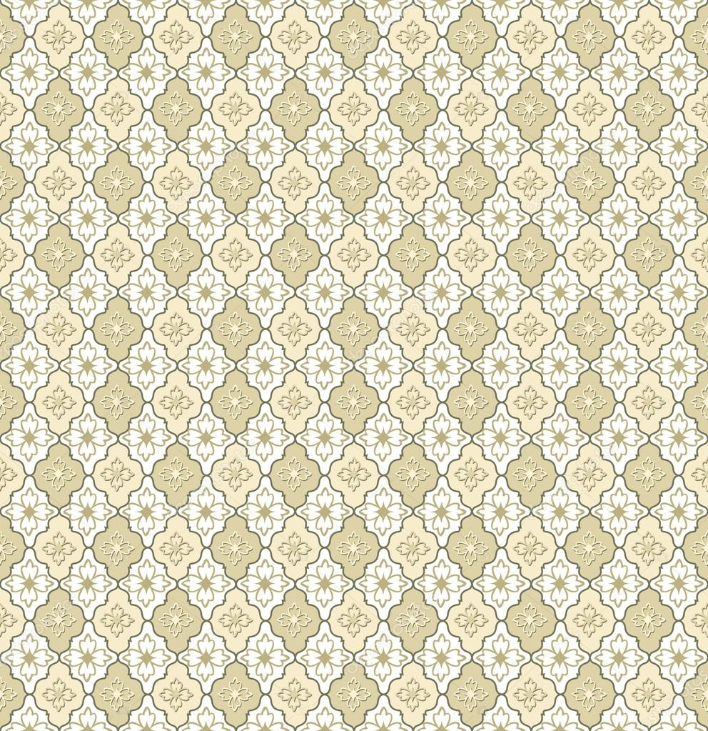Abstract Geometric Retro Texture. Seamless pattern. Floral lightning ornament. Beige and white flower background