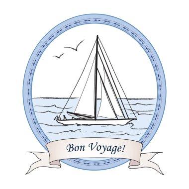 Yacht in ocean label