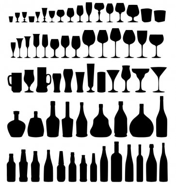 Glass and bottle vector silhouette collection