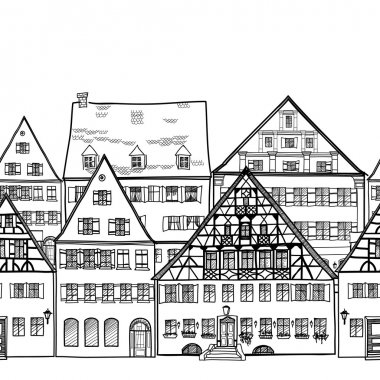 Houses seamless border. Old town cityscape
