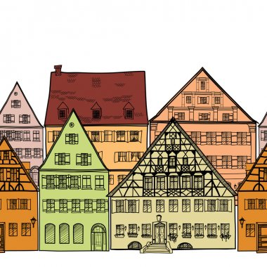 Houses seamless border. Old town cityscape.
