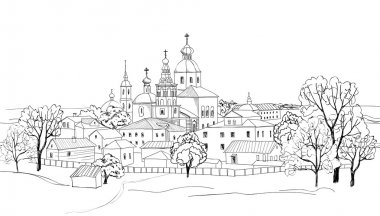 Russian city. Sketch drawing of view of Suzdal Kremlin. Travel Russia doodle cityscape