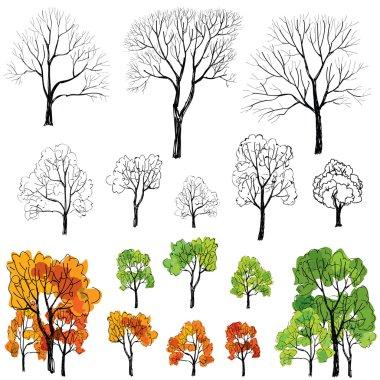 Seasons tree symbol icon set