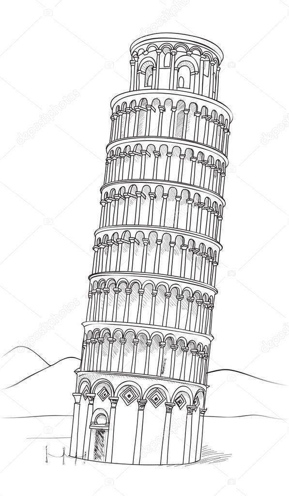 tower of pisa  tuscany  italy  u2014 stock vector  u00a9 yokodesign