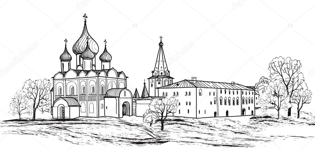 Town Landscape Vector Illustration: Sketch Drawing Of View Of Suzdal Town