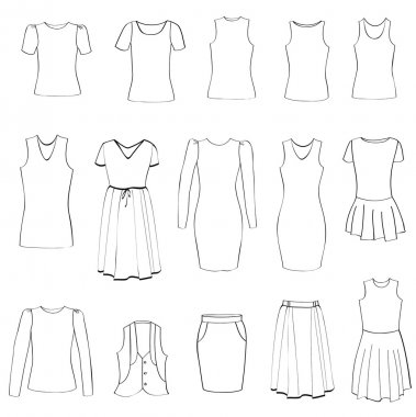 Fashion icons set. Female cloth collection. Dress vector silhouette.