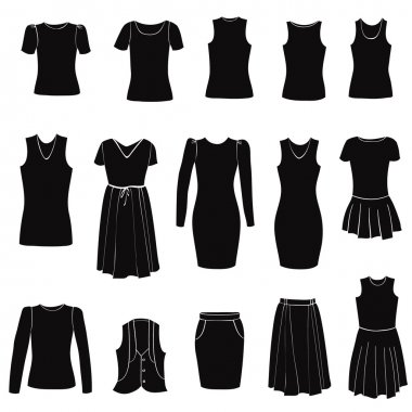 Fashion icons set. Female clothes collection. Dress vector silhouette.