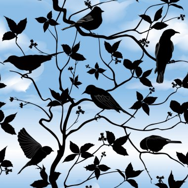 Birds silhouette on branch and leaf seamless background.