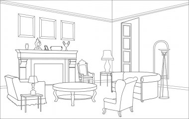 Editable vector illustration of an outline sketch of a interior.