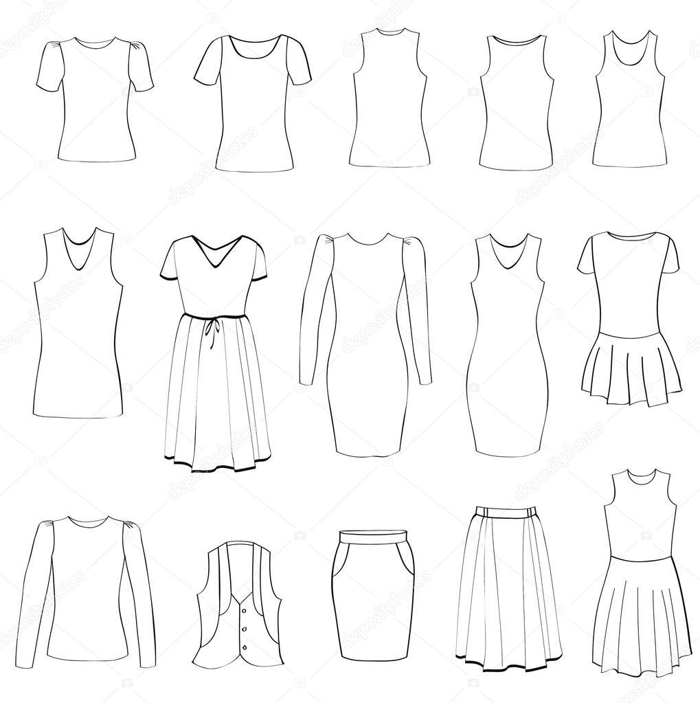 596e175f5 Conjunto de ícones de moda. coleção de pano feminino. vestido vetor silhueta  — Vetores