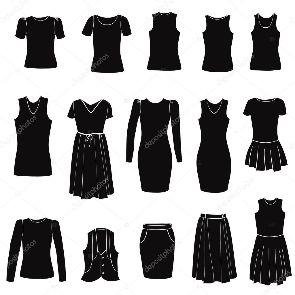 Fashion icons set. Female clothes collection. Dress vector ...