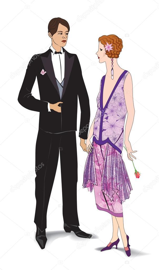 ein paar Party. Mann und Frau im Cocktail-Kleid im Vintage-Stil-20er ...