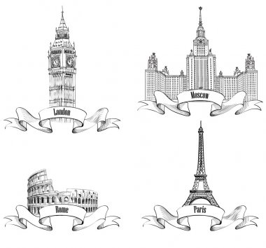 Eiffel Tower, Big Ben, Westminster Abbey, Colosseum, Lomonosov Moscow State University