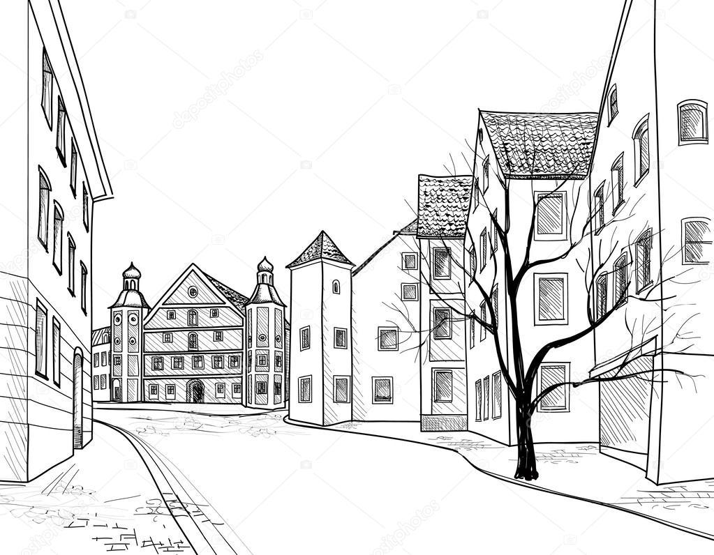 Dessin Facile Perspective : European downtown landscape — stock vector yokodesign