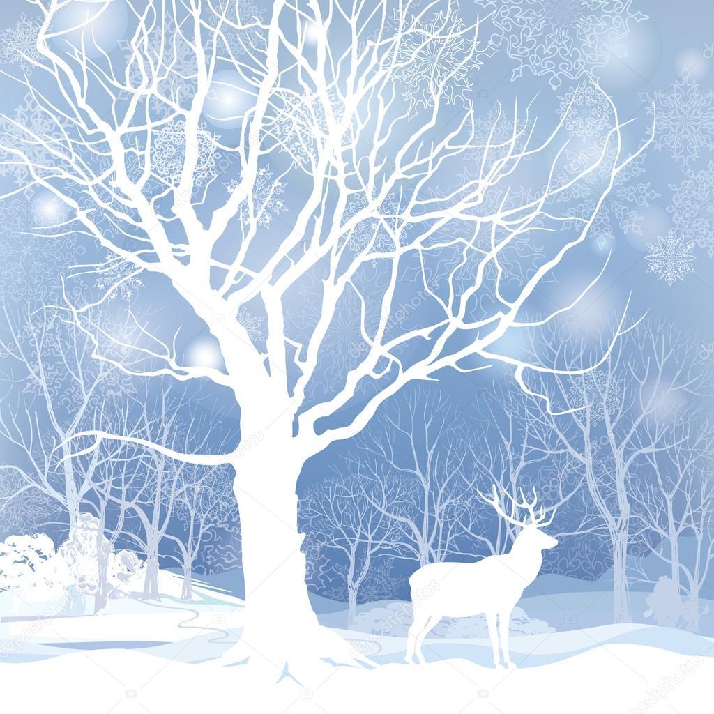 Snow winter forest. Landscape with elk