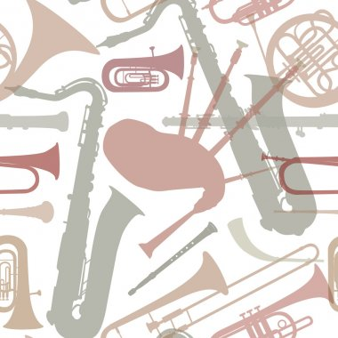 Music instruments seamless pattern.