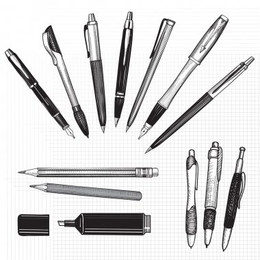 Pen set. Hand drawn vector.