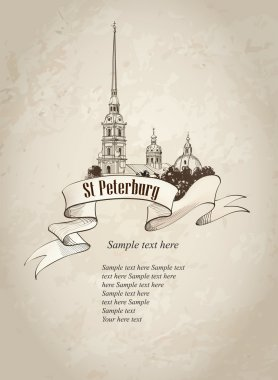 St. Petersburg landmark, Russia. Cityscape old-fashioned background with copy space. clip art vector