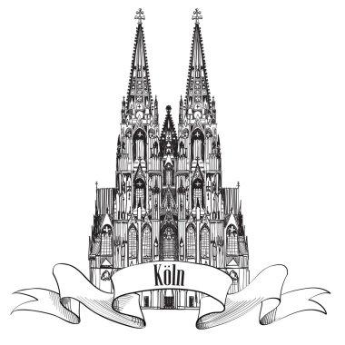 German city travel label.  Koln, Gemany, Europe.