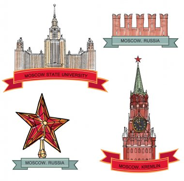 Red Square, Kremlin. Moscow City Label set