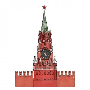 Spasskaya tower isolated