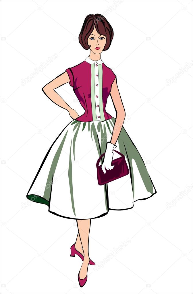 retro fashion clip art stock vector yokodesign 46225725 rh depositphotos com