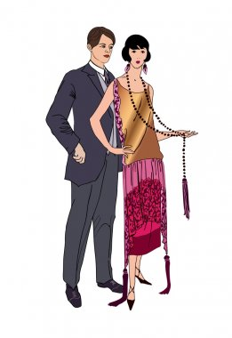 Man and woman  in vintage style