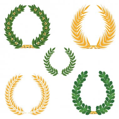 Laurel wreaths set.
