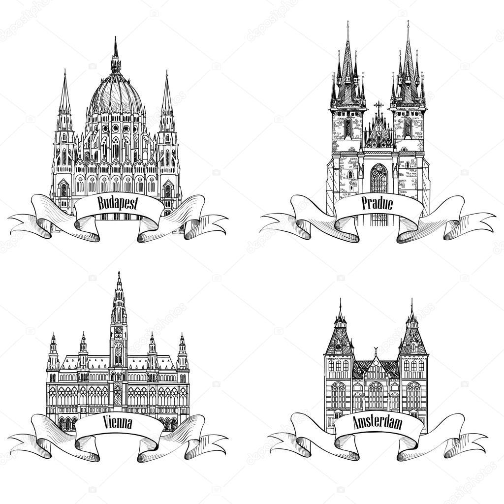 Famous European buildings.